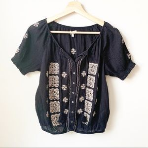 JOIE Embroidered Black Top
